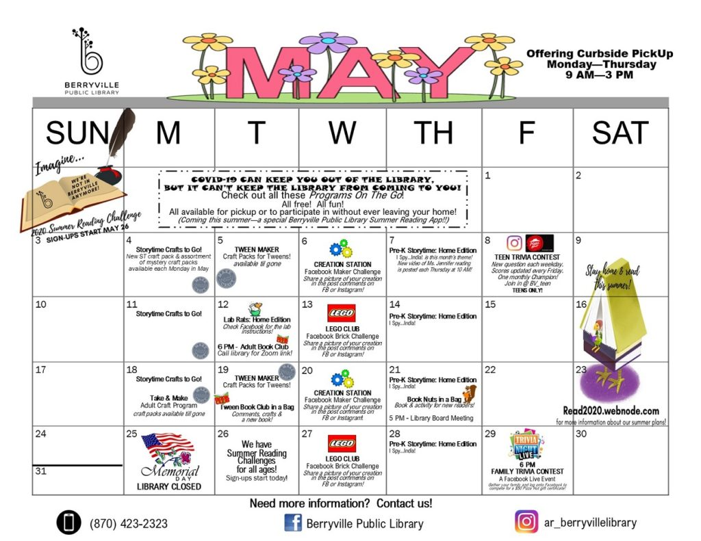 May 2020 calendar of events happening at Berryville Public Library